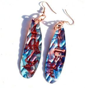 Long Red Blue Patina Embossed Drop Earrings Boho